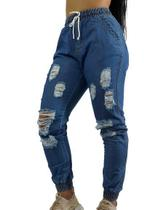 Calça Feminina Jogger Jeans Cintura Alta Blogueira C35 - Fanáticos Por Cintas