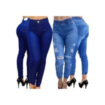 Calça Feminina Jogger Jeans Destroyed Cintura Alta Blogueira 2 Unidades - Meimi