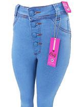 Calça Feminino C/ Botões Encapados C/ Cintura Alta C/ Lycra - Grif Jeans