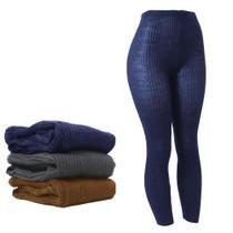 Calça Fusô De Lã Adulto Feminina Lisa Inverno Frio Fina - Zafina