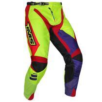 Calça Ims Sprint Azul Royal Vermelha E Amarelo Fluor Motocross Trilha -