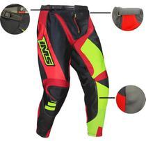 Calça Ims Sprint Preto / Vermelho / Amarelo Fluor Velocross Motocross Trilha -