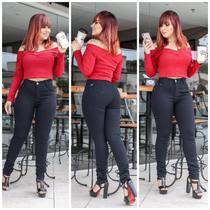Calça Jeans Feminina Skinny Preta Cintura Alta - Equilibrío
