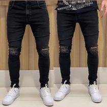 Calça Jeans Masculina Preta Skinny Destroyed Sem Bainha - Djn Jeans