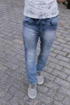 Calca jeans moleton c/detonado - Quebra Vento