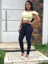 300ec3957 Calça Jeans Premium Feminina Cintura Alta Lycra Dourado - Mangata jeans