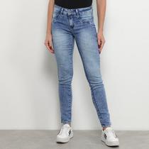 Calça Jeans Skinny Chocomenta Estonada Vintage Cintura Média Feminina -