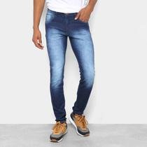 Calça Jeans Skinny Coffee Estonada Cintura Média Masculina -