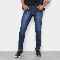 Calça Jeans Skinny Coffee Estonada Puídos Masculina -