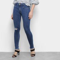Calça Jeans Skinny Lança Perfume Desfiada Cintura Média Feminina -