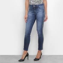 Calça Jeans Skinny Razon Estonada Faixa Lateral Feminina -