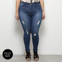Calça Jeans Skinny Sawary Cigarrete Rasgos Plus Size Feminina -