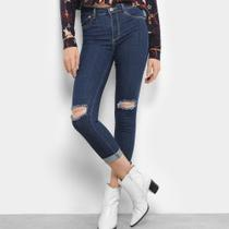 Calça Jeans Skinny Sawary Ragos Joelho Barra Dobrada Cintura Média Feminina -
