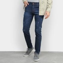 Calça Jeans Slim Coffee Puídos Masculina -