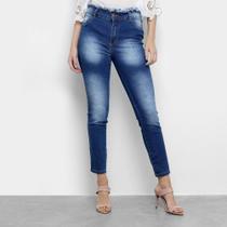 Calça Jeans Vale de West Skinny Média Cós Desfiado Feminina -