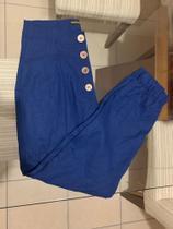 Calça jogger linho com elastano botão TAM P cor Azul - Santa Origem