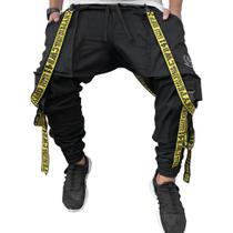 Calça Jogger Preta Masculina Trend Suspenders Tracks AMARELA - Art Stillo