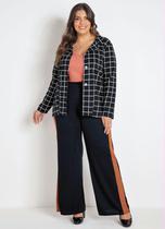 Calça Pantalona Preta e Caramelo Plus Size - Marguerite