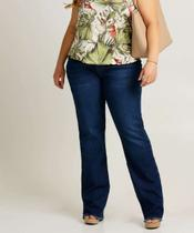 Calça Plus Size Feminina Jeans Flare Barra Desfiada - Epos