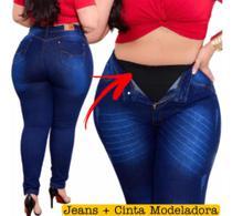 Calça Plus Size Jeans C/ Cinta Aperta Barriga Modeladora Lip - Nacional