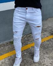 calça skinny  destroyed/ City Denim/masculino tamnho 38/ cor branco detonada -