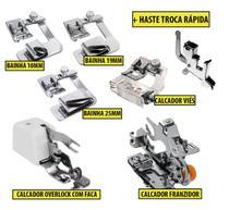 Calcador Overlock + Franzidor + Viés +Bainhas 10mm 19mm 25mm - Premier