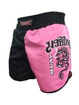 Calção Short Muay Thai - Dragon on Fire - Feminino- Preto/Rosa- Toriuk - - Trk