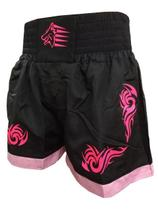 Calção Short Muay Thai - Start - Tribal - Preto/Rosa- Uppercut -
