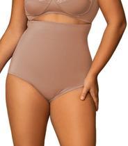 Calcinha Cinta Modeladora Alta Plus Size, Chocolate e Preto - Shanty