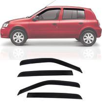 Calha de Chuva Esportiva Renault Clio Fase 2 2000 Até 2016 4 Portas Fumê - Ecoflex