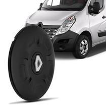 Calota Centro Miolo de Roda Aro 16 Renault Master 2013 a 2017 Fechada Preto Furação 5x130 - Emblemax