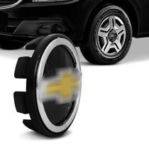 Calota Centro Miolo de Roda Chevrolet 51mm Preta e Dourada Fixação Por Encaixe - Emblemax