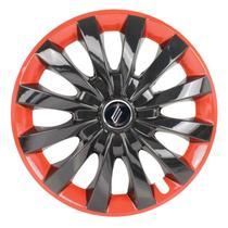 "Calota Universal modelo Flap Aro 13"" Black/Red Parafuso - Elitte"