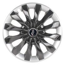 "Calota Universal modelo Flap Aro 13"" Black/Silver Parafuso - Elitte"