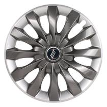 "Calota Universal modelo Flap Aro 13"" Graphite/Silver Parafuso - Elitte"