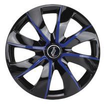 "Calota Universal modelo Prime Aro 13"" Black/Blue Parafuso - Elitte"