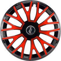 """Calota Universal modelo Triton Aro 13"""" Preta/Vermelha Elitte -"""