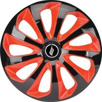 "Calota Universal modelo Velox Aro 13"" Preta/Vermelha Elitte -"