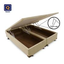 Cama Box Baú Bi Partida Queen Size Bege Suede 158x198x43 - Acolchoes