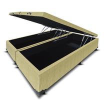 Cama Box Baú Bipartido Frontal V-Joy QUEEN SIZE Linho Bege Palha - 158x198 -