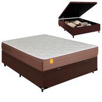 Cama Box Baú Casal 1,38m Colchão de Molas Cobalt Inducol Marrom 138x188x60cm -