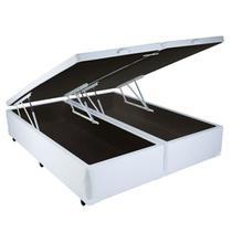Cama Box Bau Casal Bipartido - Bello Box - Tecido Sintético Branco -