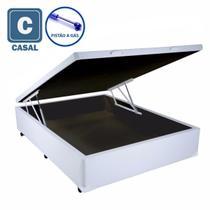 Cama Box Baú Casal branco com Pistão a gás - 138x188 - Acolchoes