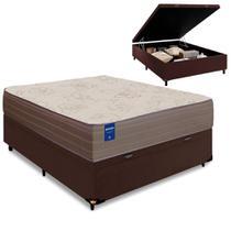 Cama Box Baú Casal Colchão de Espuma D33 Semi Ortopédico Extra Firme Orthotec Marrom 138x188x68cm - Inducol