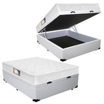 Cama Box Baú Casal Colchão Espuma D45 Black White Euro Double Face Castor + Box Sintético 72x138x188 -