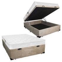 Cama Box Baú Casal Colchão Espuma D45 Black White Euro Double Face Castor + Box Suede 72x138x188 -