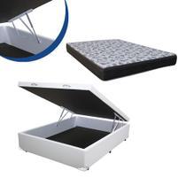 Cama Box Baú Casal Colchão Espuma D45 Bordado + Box Sintético Branca Sp Móveis 67x138x188 -