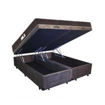Cama Box Baú Casal Colchão Espuma D45 + Box Bipartido Suede Marrom Serra Negra 62x138x188 -