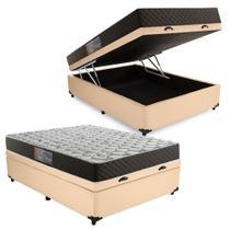 Cama Box Baú Casal Colchão Mola Bonnel Acolchões + Box Sintético 61x138x188 - Acolchoes