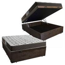Cama Box Baú Casal Colchão Mola Bonnel Acolchões + Box Suede 61x138x188 -